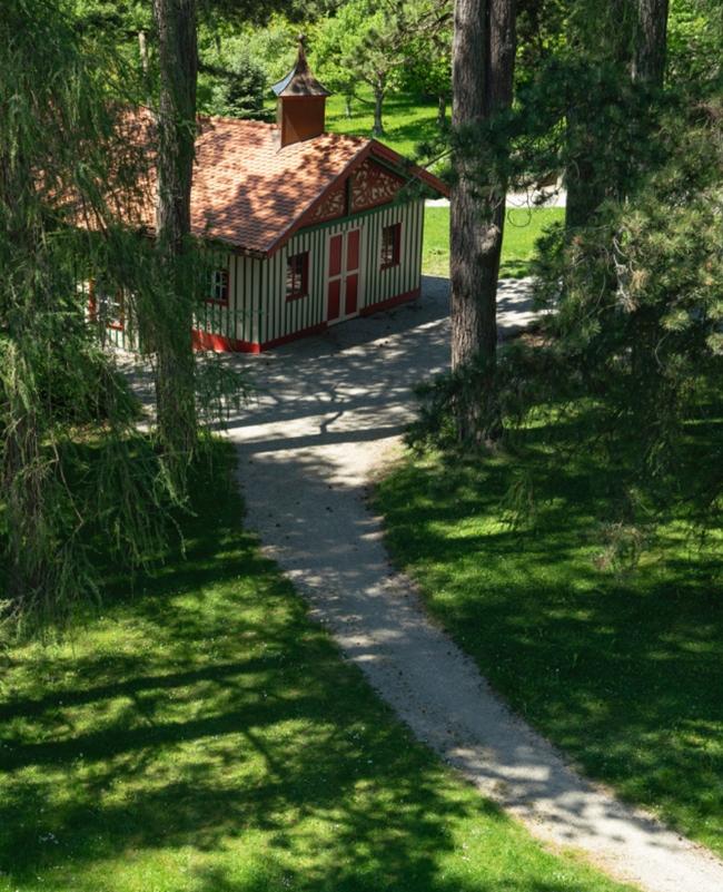 Das Chauffeurhaus, ein Holzbau im Garten der Villa mit alten Nadelbäumen im Vordergrund